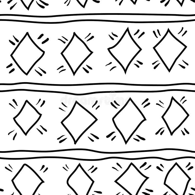 Reticolo senza giunte Ornamento etnico disegnato a mano tiling Disegno di vettore illustrazione di stock