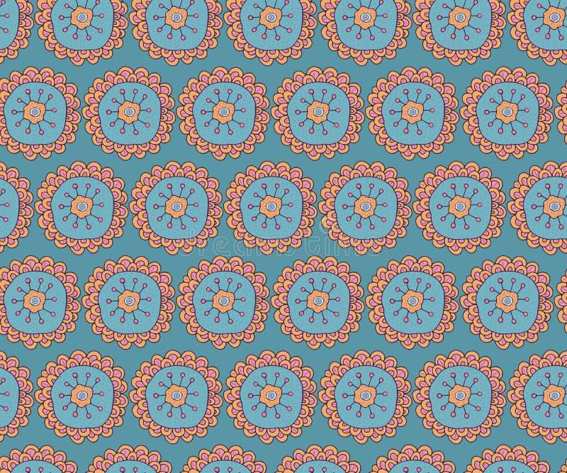 Reticolo senza giunte Ornamento etnico e tradizionale Stile di Boho Fiore stilizzato disegnato a mano Progettazione per i tessuti illustrazione di stock
