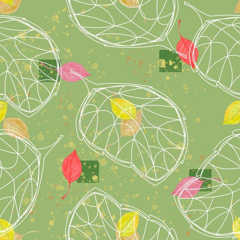 Reticolo senza giunte per il disegno L'acquerello lascia la ciliegia con la foglia grafica su un fondo di verde di calce illustrazione vettoriale