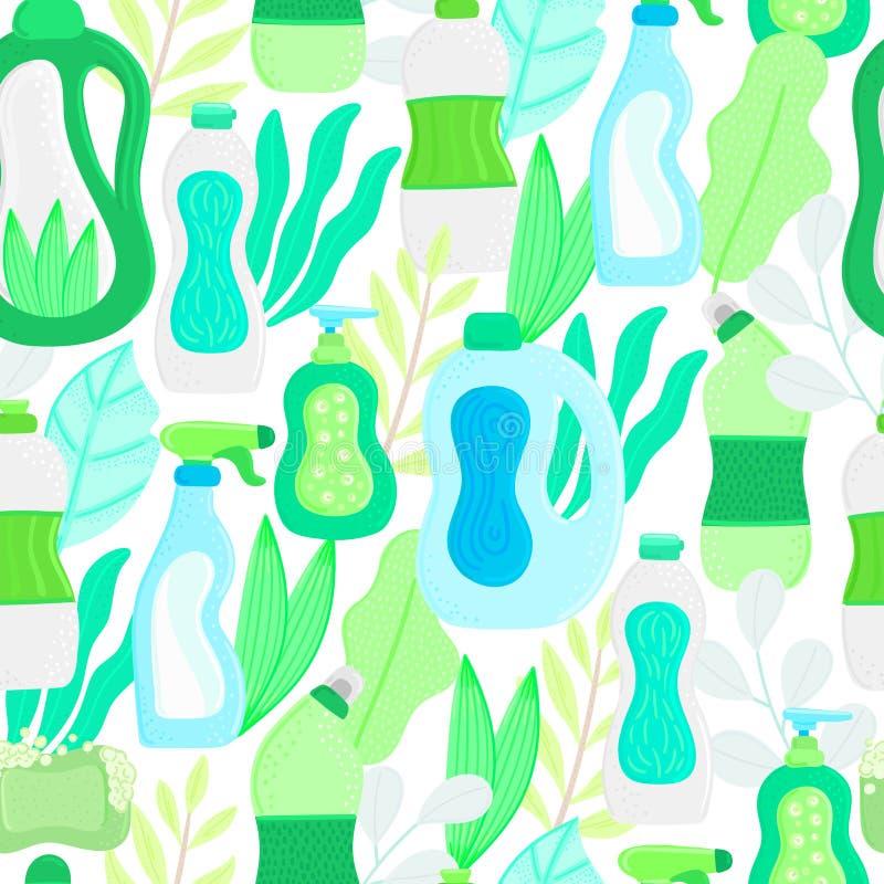 Reticolo senza giunte Rifornimenti e foglie di pulizia amichevoli della famiglia di Eco Detersivi naturali Prodotti per il lavagg immagini stock libere da diritti