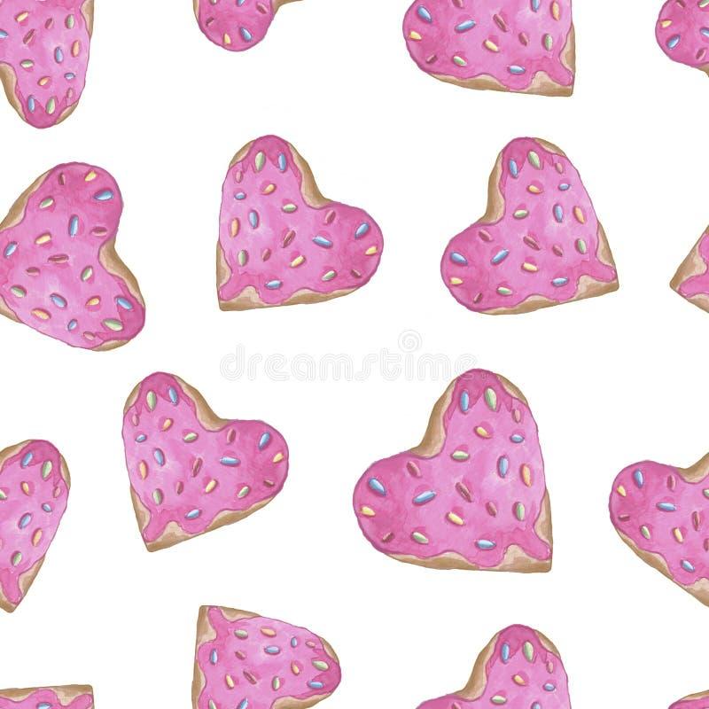 Reticolo senza giunte Rosa rossa Amore delicato Guarnizioni di gomma piuma rosa di acqua di colore di forma disegnata a mano del  illustrazione vettoriale