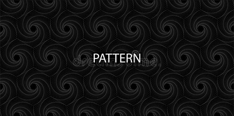 Reticolo senza giunte Spirale rombica bianca nero- per la vostra progettazione illustrazione di stock