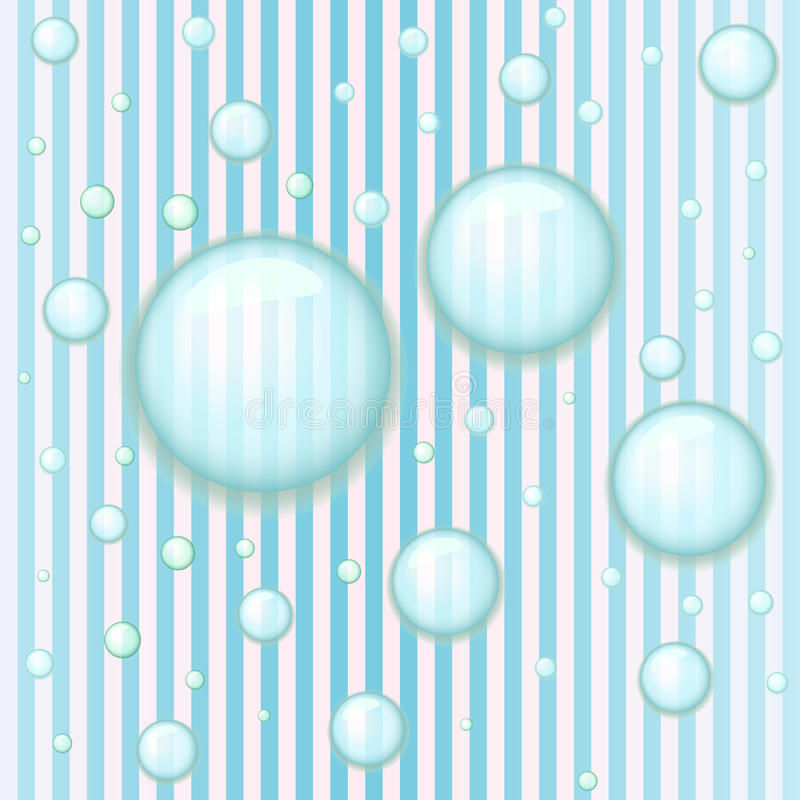 Reticolo senza giunte a strisce blu con le gocce dell'acqua illustrazione di stock
