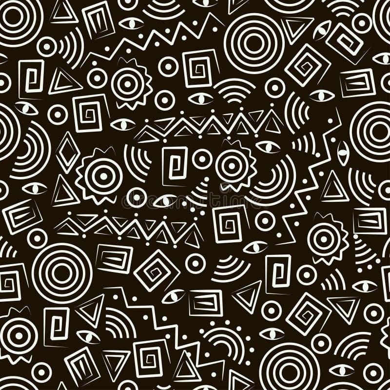 Reticolo senza giunte tribale di art. con le figure astratte illustrazione di stock
