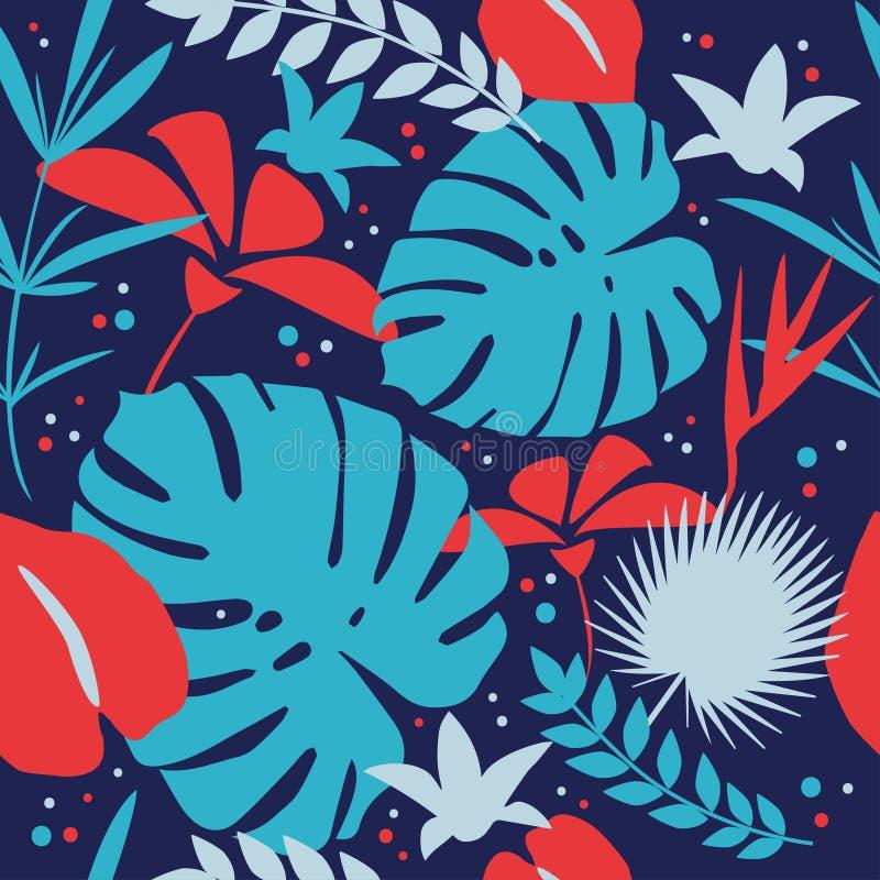 Reticolo senza giunte tropicale illustrazione di stock
