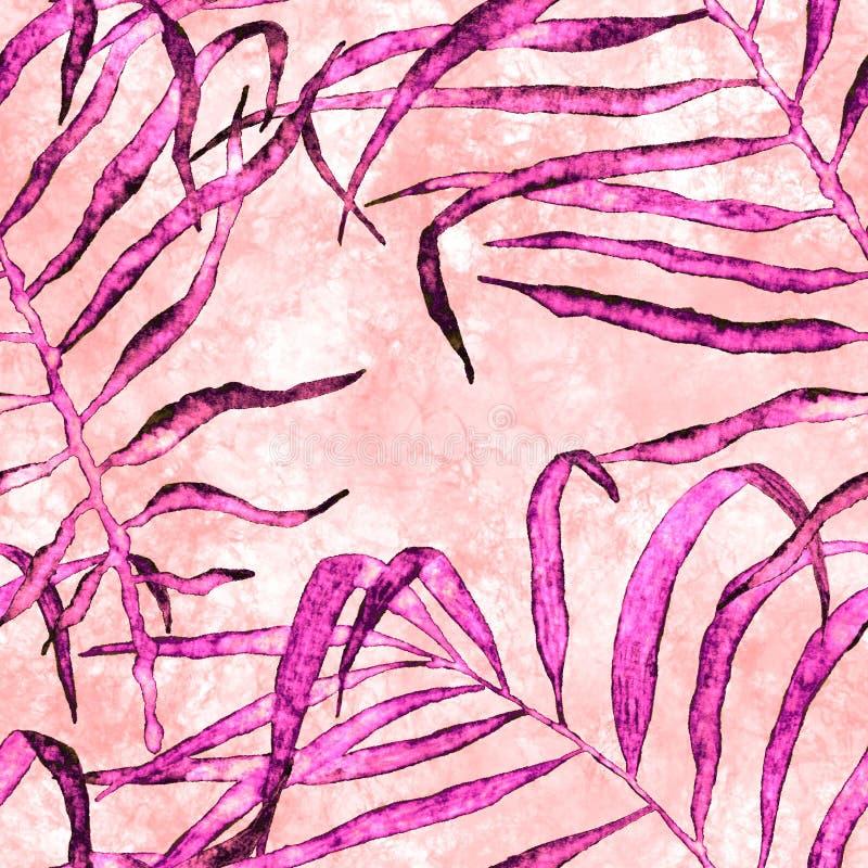 Reticolo senza giunte tropicale Palma d'ondeggiamento dell'acquerello royalty illustrazione gratis