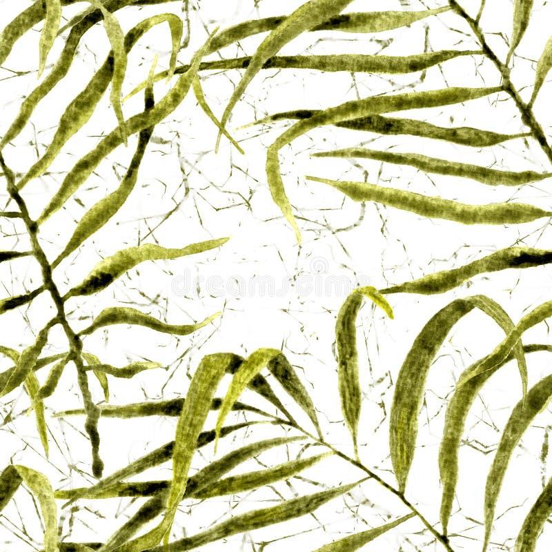 Reticolo senza giunte tropicale Palma d'ondeggiamento dell'acquerello illustrazione di stock