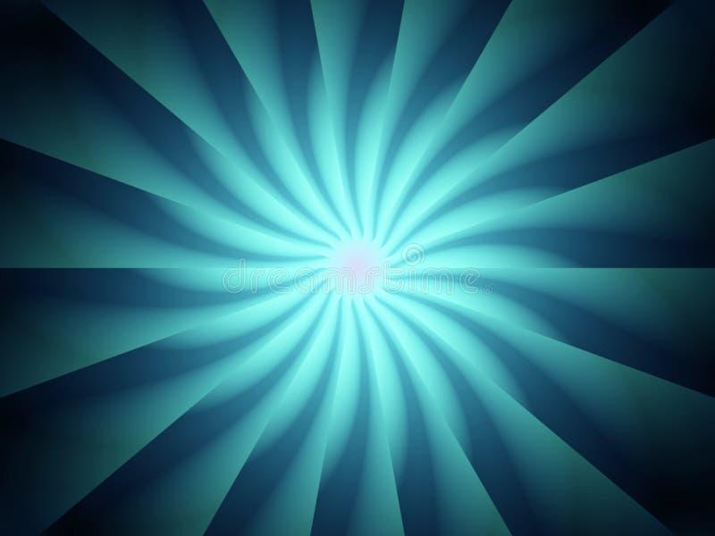 Reticolo a spirale blu dei raggi luminosi illustrazione di stock