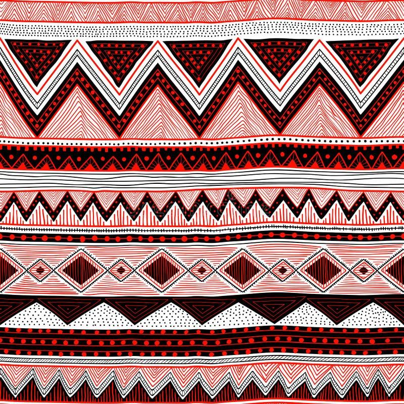 Reticolo a strisce senza giunte Motivi etnici e tribali Bianco, il nero illustrazione vettoriale