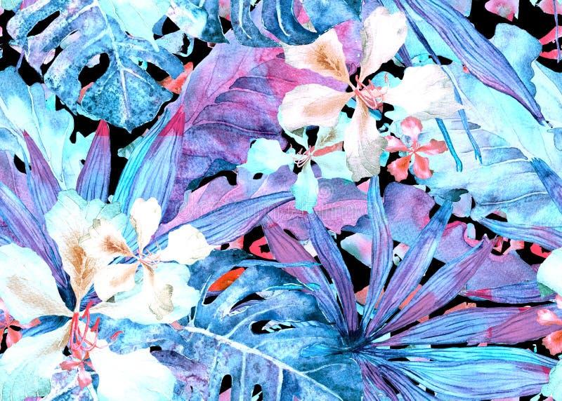 Reticolo tropicale Palma della Tailandia dell'acquerello, monstera, ibisco, banano illustrazione vettoriale