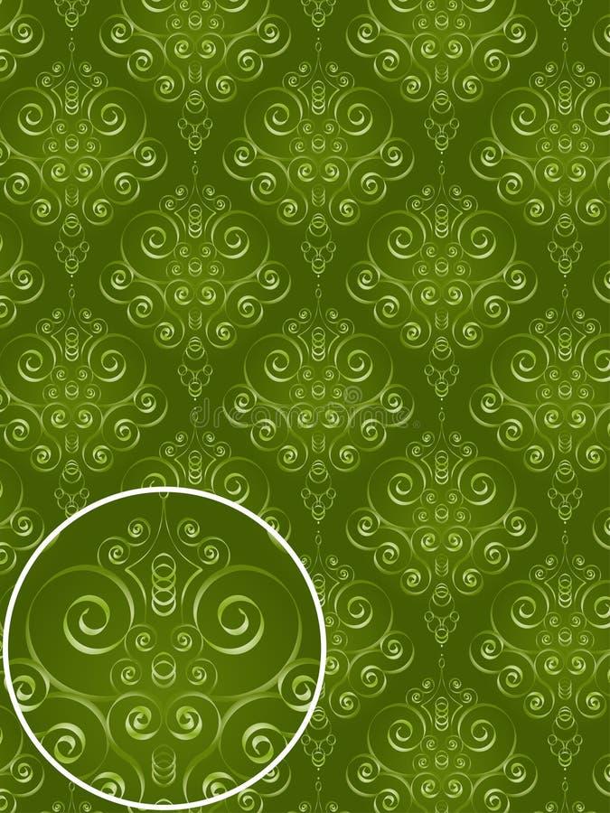 Reticolo verde di stile del damasco illustrazione di stock