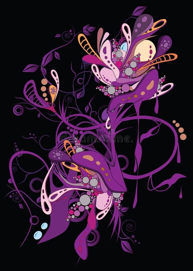 Reticolo viola astratto con i fiori illustrazione vettoriale