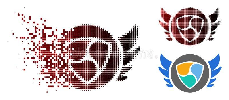 Reticulação decomposta NEM Angel Investment Icon de Pixelated ilustração royalty free