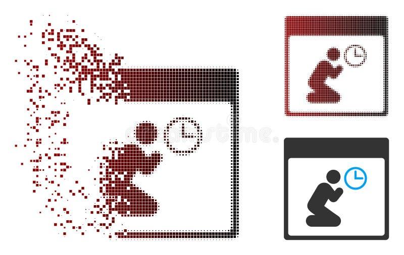 A reticulação Destructed do pixel reza o ícone da página do calendário do pulso de disparo ilustração do vetor