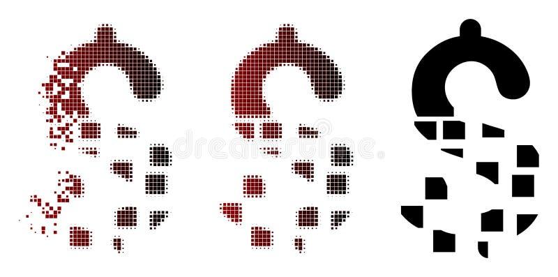 A reticulação dispersada do pixel desaparece ícone do dólar ilustração do vetor