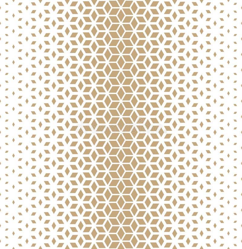 A reticulação dourada da grade da geometria sagrado abstrata cuba o teste padrão ilustração do vetor