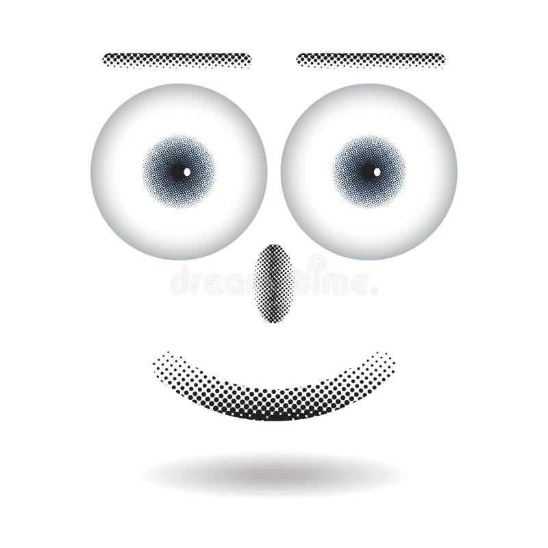 Reticulação na cara feliz com o olho grande que flutua com sombra ilustração stock