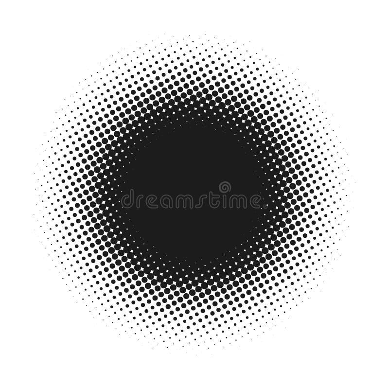 A reticulação pontilhou o fundo abstrato do vetor, teste padrão de ponto na forma do círculo Bandeira cômica preta contexto branc ilustração royalty free