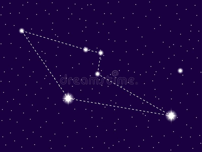 Reticulum constellation. Starry night sky. Zodiac sign. Cluster of stars and galaxies. Deep space. Vector. Illustration vector illustration