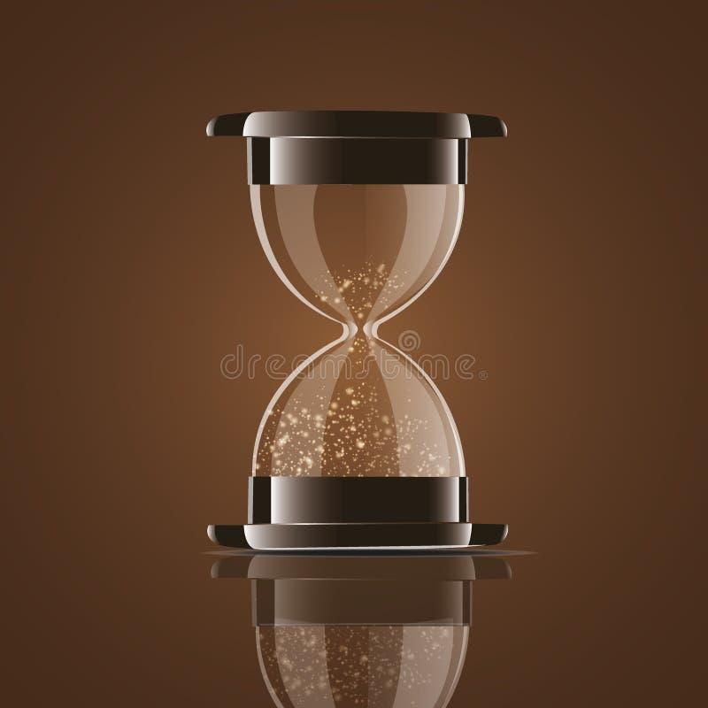 Retifique a ampulheta transparente da areia isolada no fundo branco Temporizador simples e elegante do areia-vidro Ícone 3d do pu ilustração stock