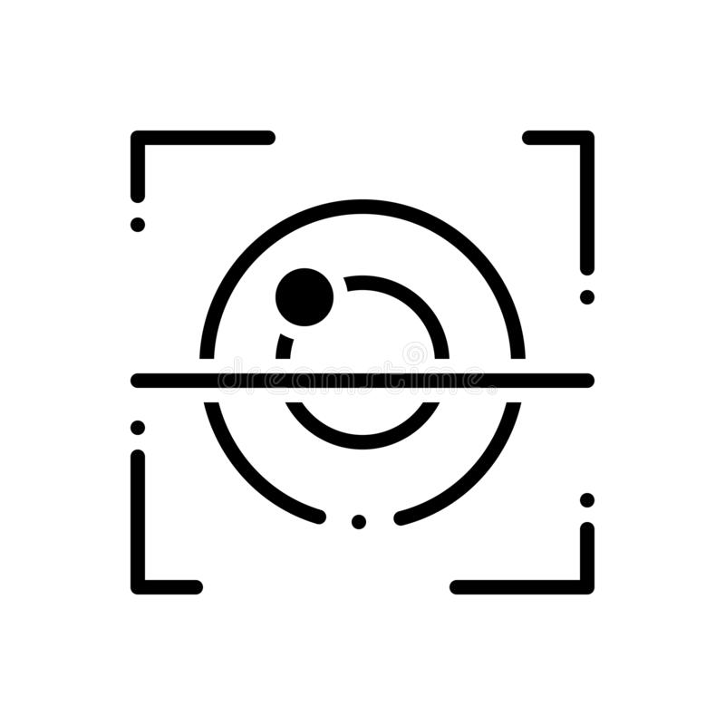 Black solid icon for Retina, recognition and biometrics. Black solid icon for Retina, identification, technology,  recognition and biometrics stock illustration