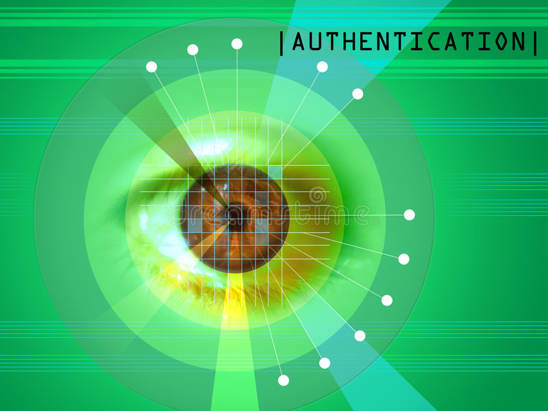 Retina scan. Ning as a security system. Digital illuthis is my work.stration stock illustration