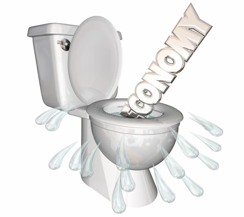 A retirada da diminuição da economia nivela para baixo a palavra do toalete ilustração royalty free