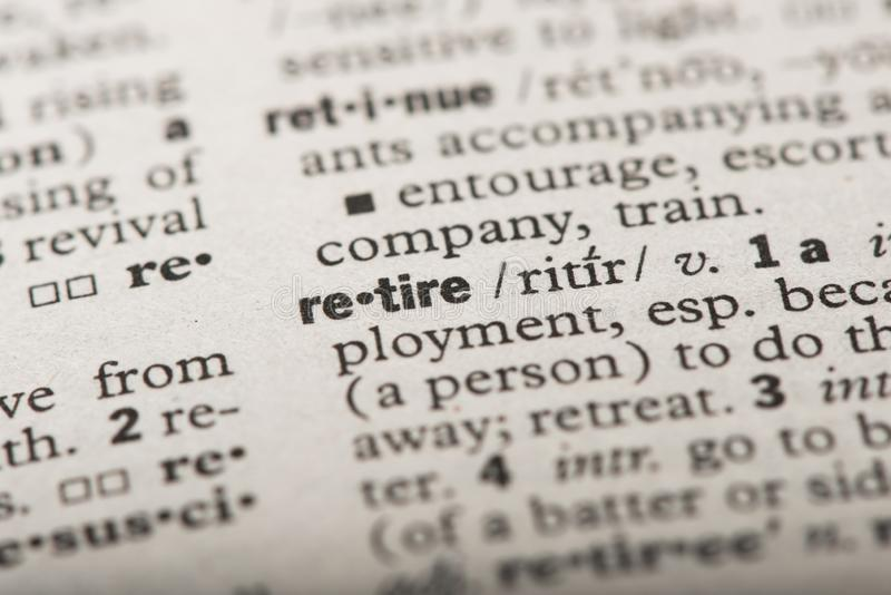 Retire in dictionary royalty free stock photography