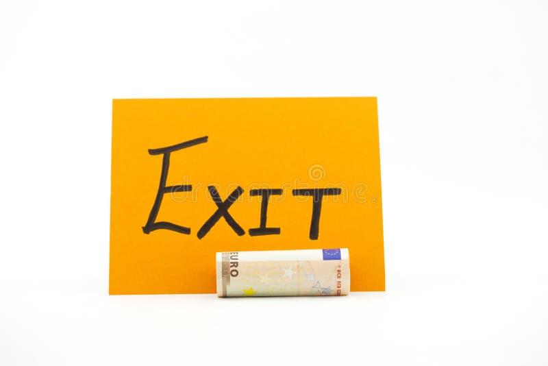 Retire escrito ao lado da euro- moeda imagens de stock