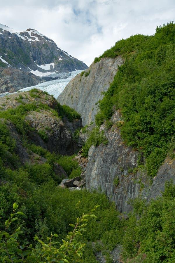 Retire a geleira em Seward, Alaska fotos de stock royalty free