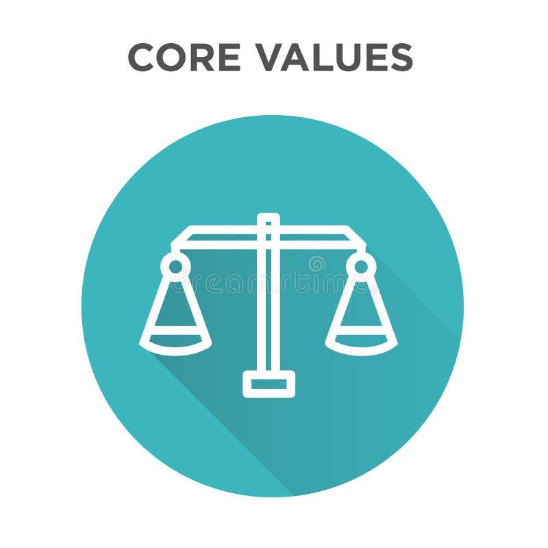 Retire o núcleo do ícone dos valores com ícone da escala e do equilíbrio ilustração stock