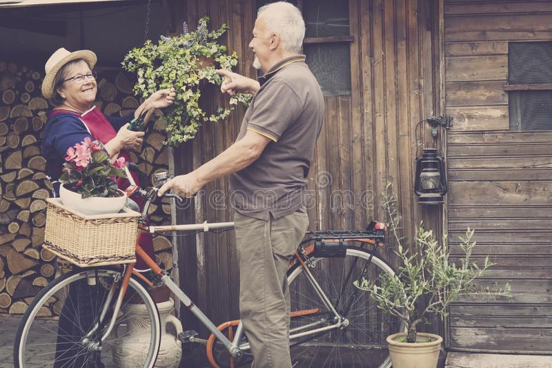 Retired adult caucasian couple stay in the jardin at his own home to work on the plants and vegetables. old style bike with them. And wood background. life royalty free stock image