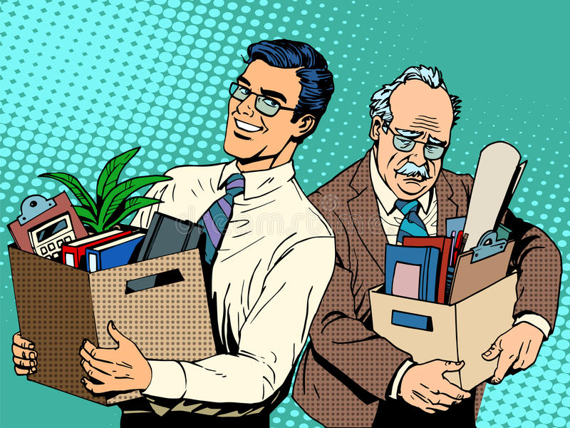 Retired business concept job search and dismissal. Pop art retro style. Young manager comes to the office at workplace old man. Happy and sad people royalty free illustration