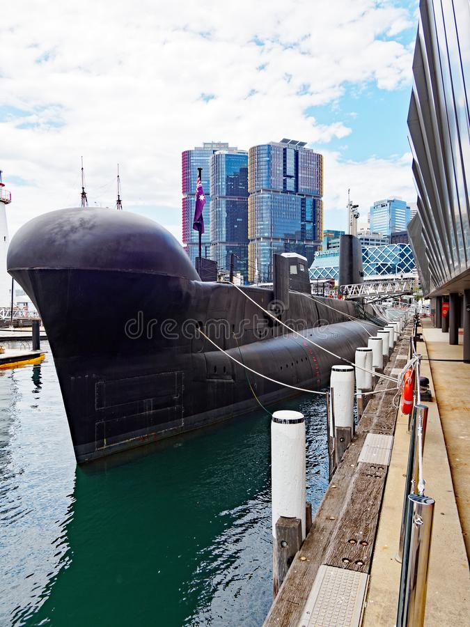 Retired Conventional Submarine in Museum, Sydney, Australia. HMAS Onslow, a retired or decommissioned Oberon Class conventional diesel electric submarine, a royalty free stock photography