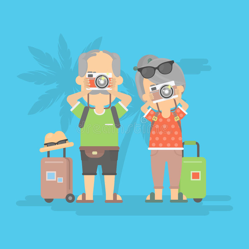Retired couple on vacation. stock illustration