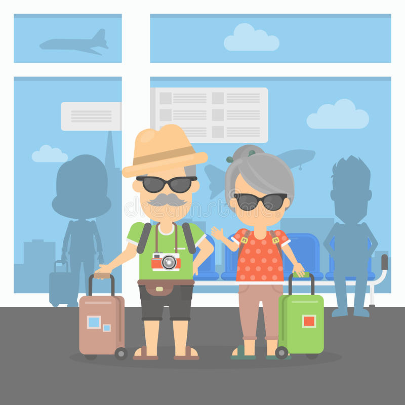 Retired couple on vacation. Isolated retired couple on vacation. Happy funny grandparents with cameras and suitcases. Couple in the airport stock illustration