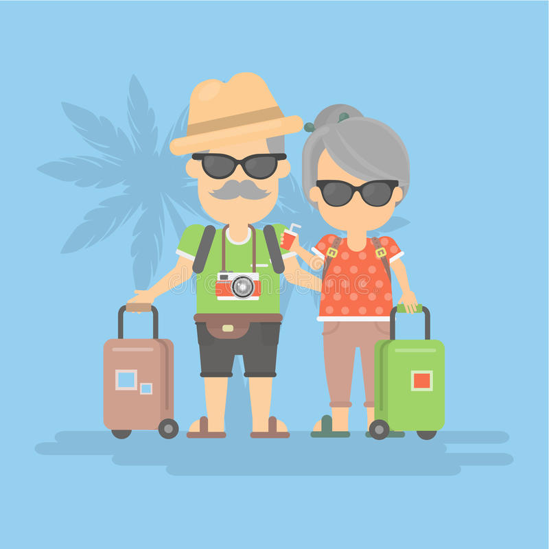 Retired couple on vacation. Isolated retired couple on vacation. Happy funny grandparents in sunglasses with cameras and suitcases royalty free illustration