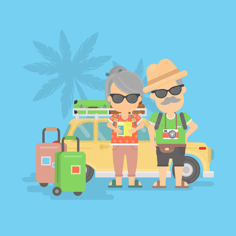 Retired couple on vacation. Isolated retired couple on vacation. Happy funny grandparents in sunglasses with cameras and suitcases stand near traveling car vector illustration