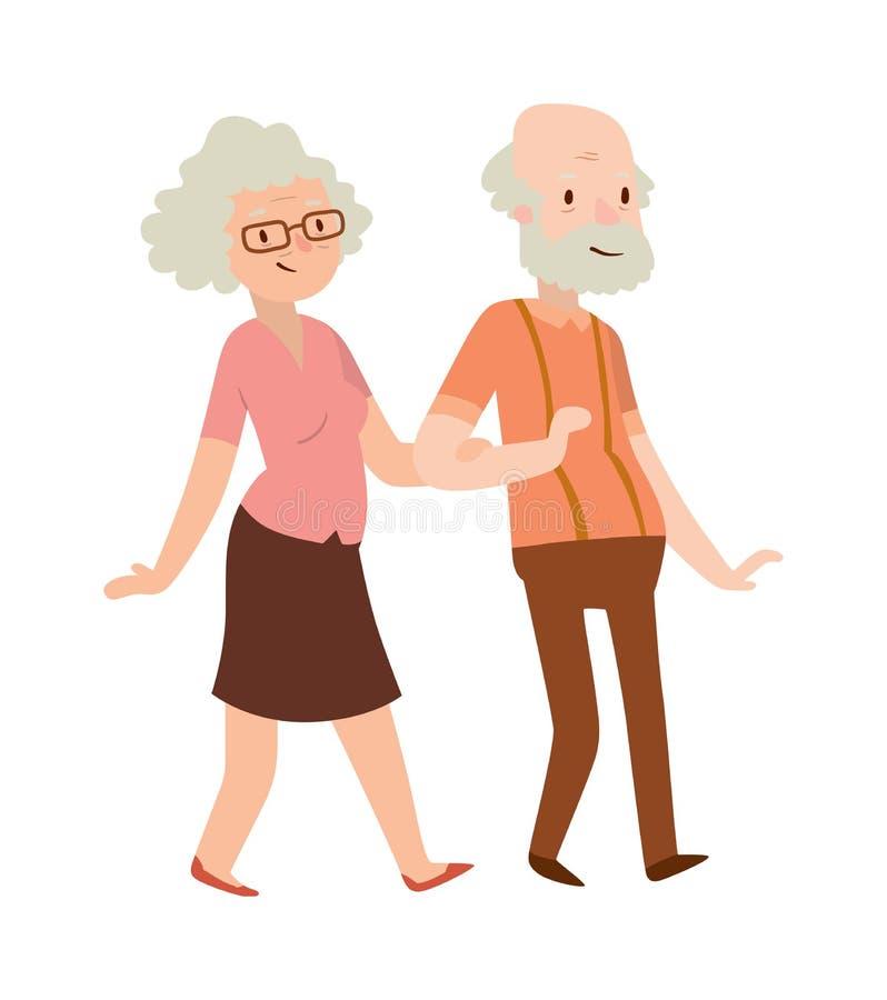 Retired couple vector illustration. Cheerful senior couple enjoying peaceful nature retired couple. Retired couple vector illustration. Retired old couple and royalty free illustration