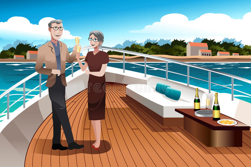 Retired Couple on a Yacht. A vector illustration of romantic retired couple drinking champagne on a yacht royalty free illustration