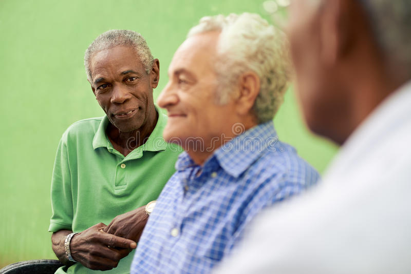 Group of old black and caucasian men talking in park royalty free stock photography