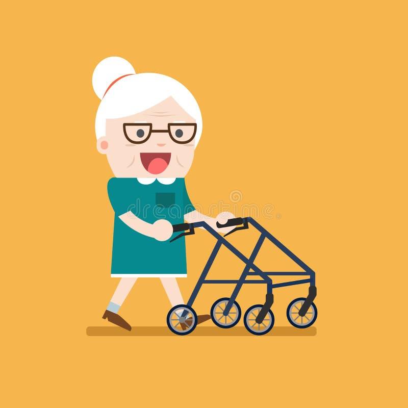 Retired elderly senior age couple. Retired elderly senior age couple in creative flat character design. Grandma standing full length smiling. Grandparents with vector illustration