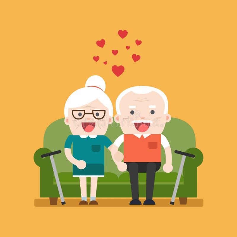 Retired elderly senior age couple. Retired elderly senior age couple in creative flat character design   Grandpa and grandma Senior couple in love vector illustration