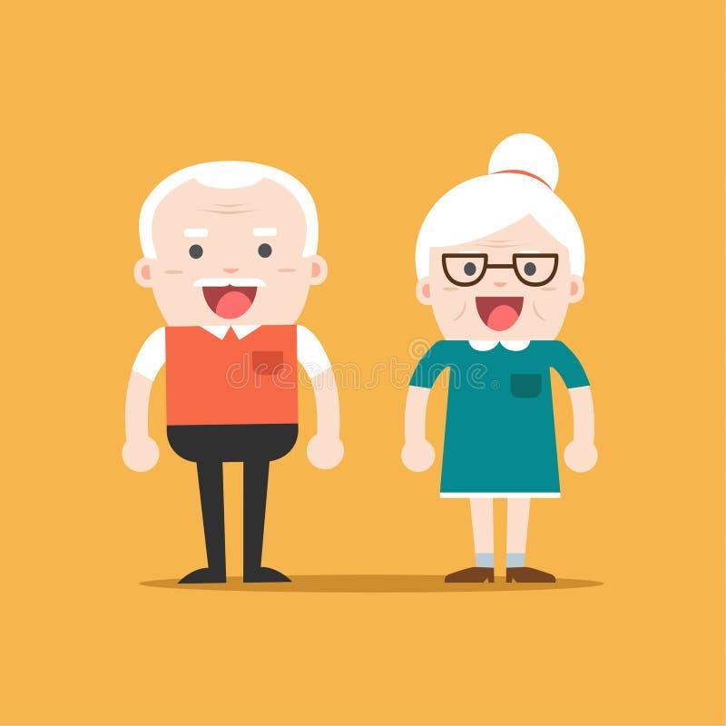 Retired elderly senior age couple. Retired elderly senior age couple in creative flat character design | Grandpa and grandma standing full length smiling stock illustration