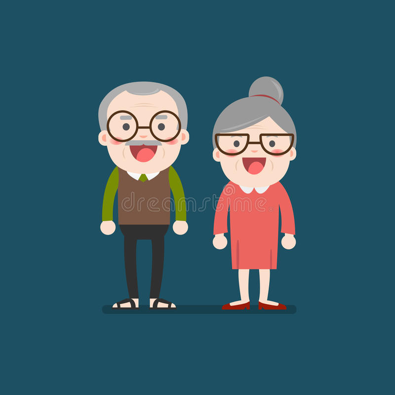 Retired elderly senior age couple. Retired elderly senior age couple in creative flat character design   Grandpa and grandma standing full length smiling stock illustration