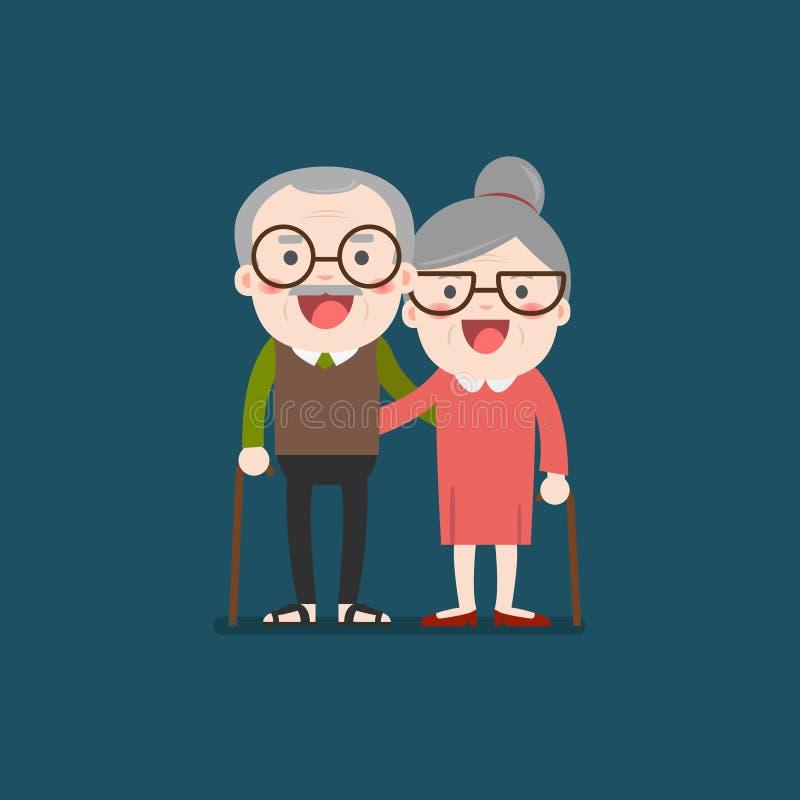 Retired elderly senior age couple. Retired elderly senior age couple in creative flat character design   Grandpa and grandma standing full length smiling vector illustration