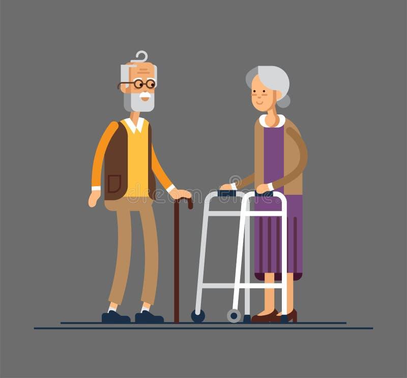 Retired elderly senior age couple in creative flat vector character design Grandpa and grandma standing full length. Retired elderly senior age couple in vector illustration