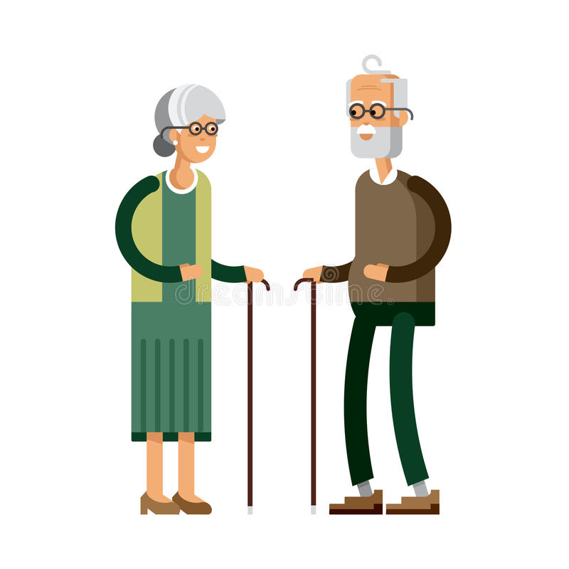 Retired elderly senior age couple. Flat vector character design. Grandpa and grandma standing full length smiling. Older generation with walking stick and stock illustration