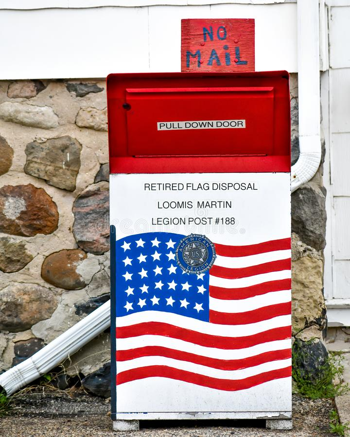 Retired Flag Disposal Mailbox Loomis Martin Legion Post. Retired Flag Disposal Mail Box Loomis Martin Legion Post #188 located in East Troy, Wisconsin. Part of stock photo
