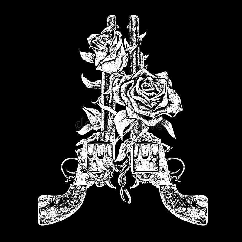 Retired guns. Black and white illustration stock illustration